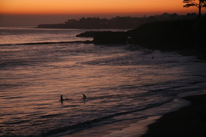 Santa Cruz Surfers at Sunset